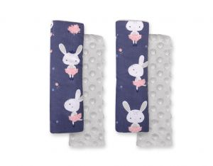 Double sided pads BOBONO for seat belts - blue rabbits/gray