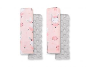 Double sided pads BOBONO for seat belts - ballerinas pink/gray