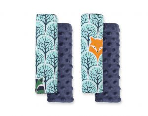 Double sided pads BOBONO for seat belts - mint forest/dark blue