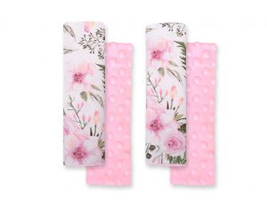 Double sided pads BOBONO for seat belts - peony flower pink/pink