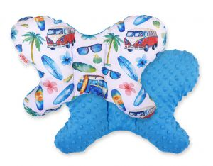 Double-sided anti shock cushion BUTTERFLY - bus/ turquoise