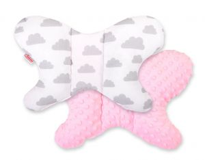 "Double-sided anti shock cushion ""BUTTERFLY"" - clouds gray/pink"