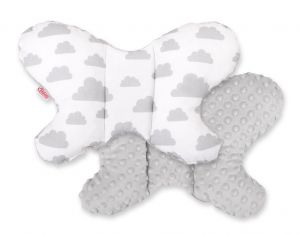 "Double-sided anti shock cushion ""BUTTERFLY"" - clouds gray/gray"
