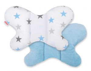 Double-sided anti shock cushion BUTTERFLY -  grey-blue stars/blue