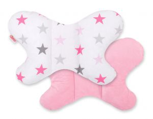 Double-sided anti shock cushion BUTTERFLY -  grey-pink stars/pink