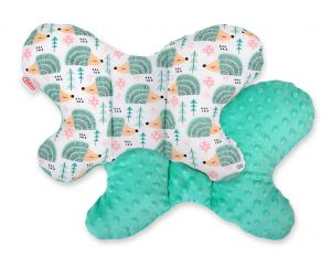 Double-sided anti shock cushion BUTTERFLY -  hedgehogs mint/mint