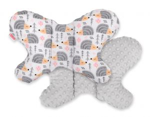Double-sided anti shock cushion BUTTERFLY -  hedgehogs gray/gray