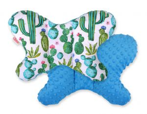 Double-sided anti shock cushion BUTTERFLY -  cactus/turquoise