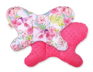 Double-sided anti shock cushion BUTTERFLY - hummingbirds in flowers/rosa