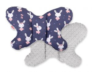 Double-sided anti shock cushion BUTTERFLY - rabbits navy blue/gray