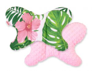 Double-sided anti shock cushion BUTTERFLY- tropical flowers/pink