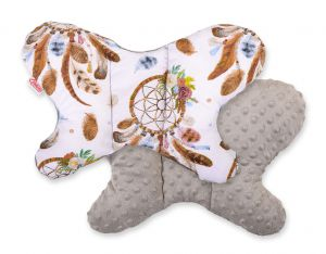 Double-sided anti shock cushion BUTTERFLY - dream catchers white/gray