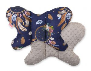 Double-sided anti shock cushion BUTTERFLY - dream catchers dark blue/gray brown