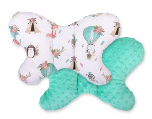 "Double-sided anti shock cushion ""BUTTERFLY"" -  foxes beige/mint"