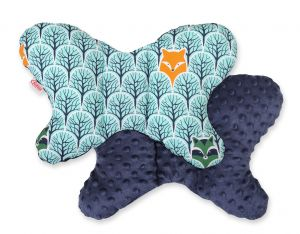 "Double-sided anti shock cushion ""BUTTERFLY"" - mint forest/dark blue"