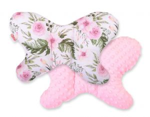 Double-sided anti shock cushion BUTTERFLY - peony flower pink/pink