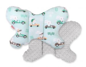Double-sided anti shock cushion BUTTERFLY - rabbits mint/gray