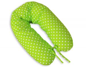 Pregnancy pillow- White polka dots on green