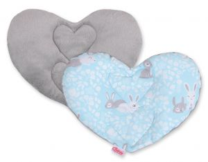 Double-sided Baby head support pillow - blue rabbits