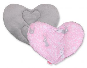 Double-sided Baby head support pillow - pink rabbits