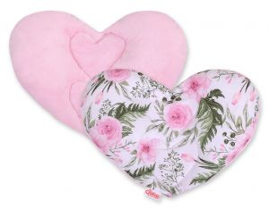 Double-sided Baby head support pillow - peony flower pink
