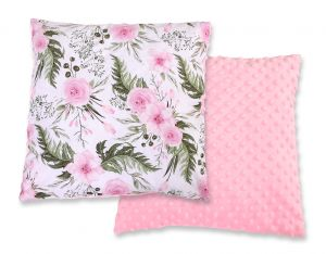Doublesided Pillow minky - peony flower pink