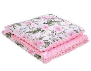 Set: Double-sided blanket minky + pillow- peony flower pink