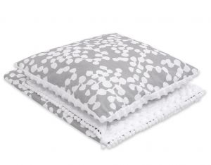 Set: Double-sided blanket minky + pillow- bubbles gray