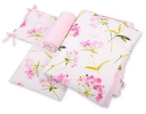 Bedding set 3-pcs  - flowers pink