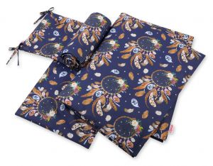 Double-sided bedding set 3-pcs - dream catchers dark blue