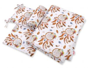 Double-sided bedding set 3-pcs - dream catchers white