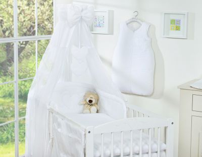 Bedding set 7-pcs with canopy- Hanging Hearts white