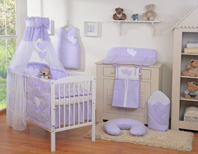 Bedding set 11-pcs with canopy- Hanging Hearts lilac