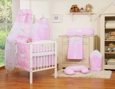 Bedding set 11-pcs with canopy- Hanging Hearts white dots on pink