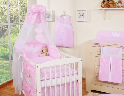 Bedding set 7-pcs with canopy- Hanging Hearts white dots on pink