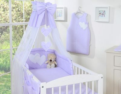 Bedding set 7-pcs with canopy- Hanging Hearts white dots on lilac