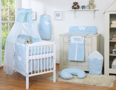 Bedding set 11-pcs with canopy- Hanging Hearts little blue flowers