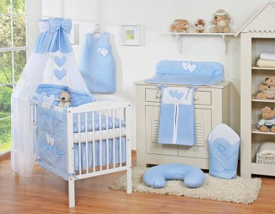 Bedding set 11-pcs with canopy- Hanging Hearts blue
