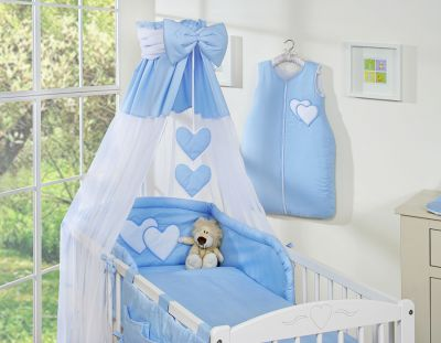 Bedding set 7-pcs with canopy- Hanging Hearts blue