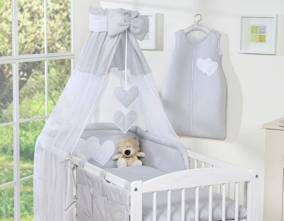 Bedding set 7-pcs with canopy- Hanging Hearts grey