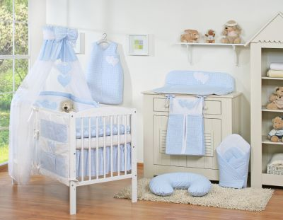 Bedding set 11-pcs with canopy- Hanging Hearts blue checkered