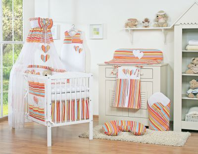 Bedding set 11-pcs with canopy- Hanging Hearts orange strips