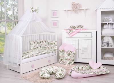 Bedding set 5-pcs with mosquito-net - peony flower pink