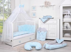 Bedding set 5-pcs with mosquito-net - blue rabbits
