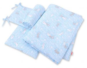 Bedding set 3-pcs - blue rabbits