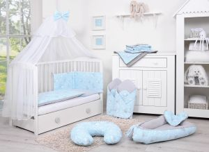 Double-sided bedding set 5-pcs with mosquito-net - blue rabbits/gray