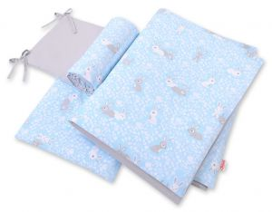 Double-sided bedding set 3-pcs  - blue rabbits/gray