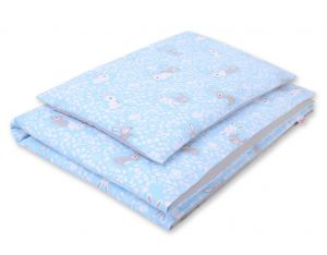 Double-sided bedding set 2-pcs- blue rabbits/gray