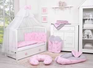 Bedding set 5-pcs with mosquito-net - pink rabbits