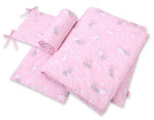 Bedding set 3-pcs - pink rabbits